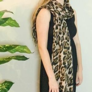 Spotted Leopard Print Scarf, Gold